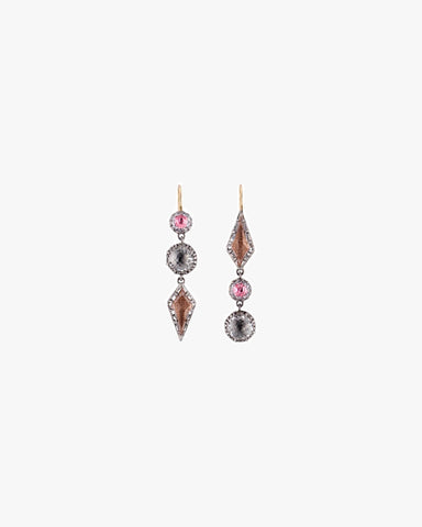 Sadie Mis-Matched Kite 3-Drop Earrings