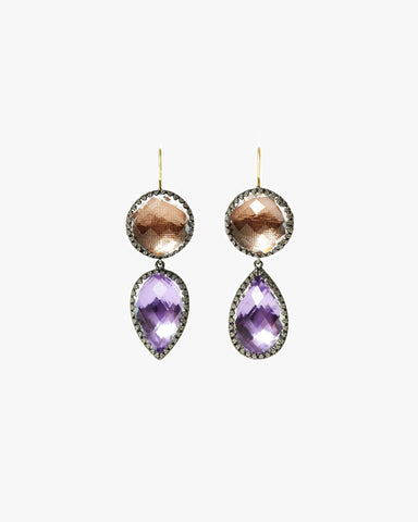 Sadie Round And Pear Drop Earrings
