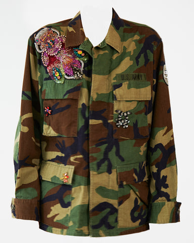 Camouflage Military Jacket with Bug