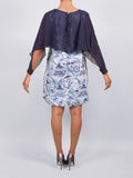 Fly Sleeve Cape Dress Blue