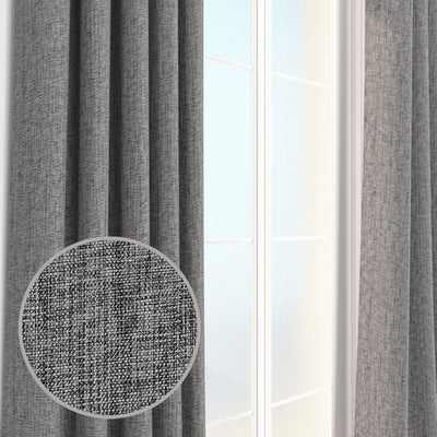 Pair Louis Linen Weave Durable Curtain Panels with FREE Curtain Rod
