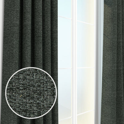 Webster Woven Heavyweight Tweed Burlap Boucle Textured Pair of Curtain Panels