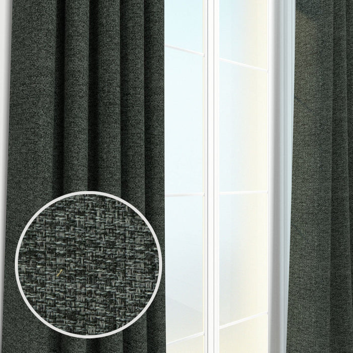 Webster Woven Heavyweight Tweed Burlap Boucle Textured Curtain Panel