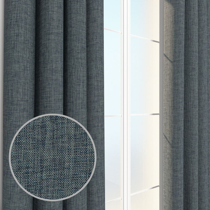 Louis Burlap Linen Weave Chambray Curtain, Drapery Panel & Window Treatment