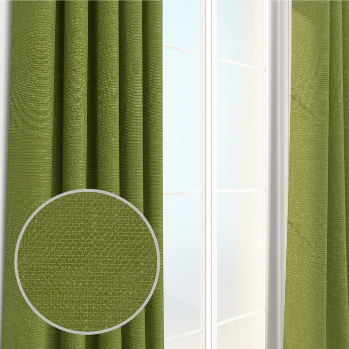 Pair Loagan Linen Durable Linen Textured Weave Curtain Panels with FREE Curtain Rod