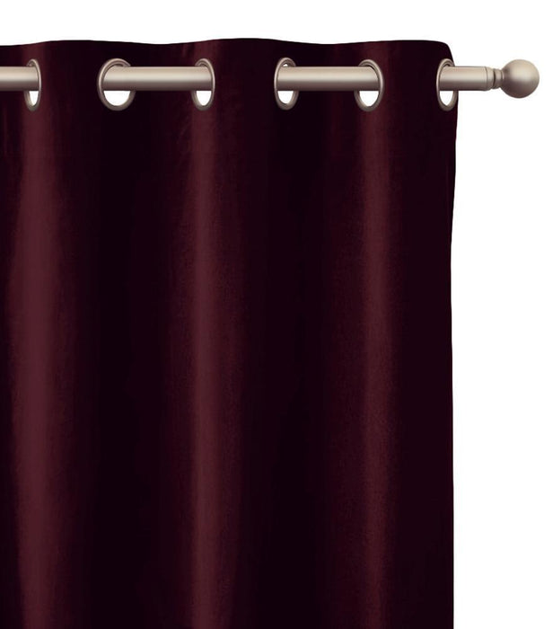Ava Velvet Plush Sheen Pair of Curtain Panels with FREE Curtain Rod