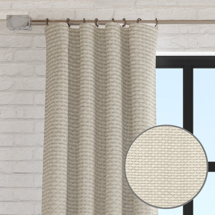 Blaine Burlap Over Sized 1/4 Inch Repeat Textured Weave Curtain Panel