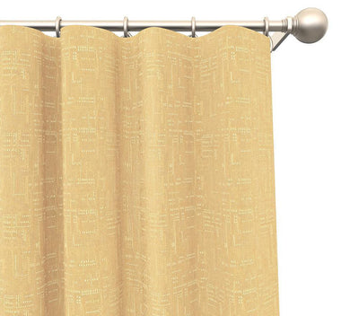 Claude Cotton Solid Tweed Slub Pair of Curtain Panels with FREE Curtain Rod