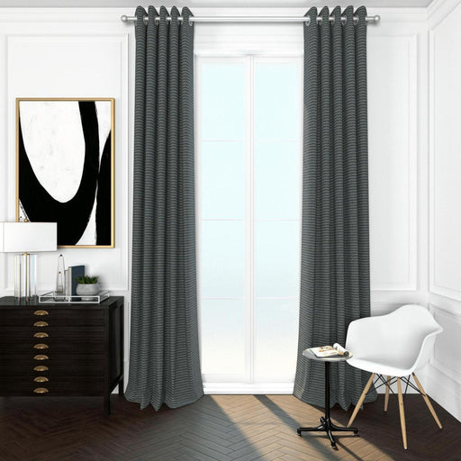 Pair Constantine Geometric Basket Weave Curtain Panels with FREE Curtain Rod