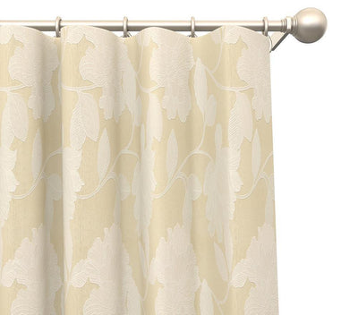 Pair Clara Floral Blended Cotton Curtain Panels with FREE Curtain Rod