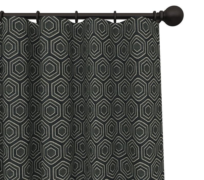 Heloise Cotton Hexagonal Pattern Pair of Curtain Panels with FREE Curtain Rod