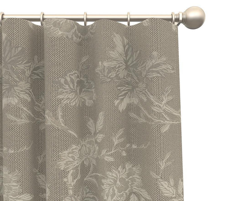 Pair Carlie Flower Tonal Floral Damask Curtain Panels with FREE Curtain Rod
