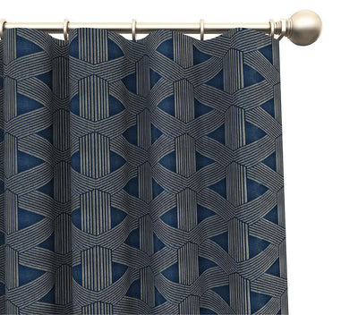 Pair Phoenix Trellis Geometric Jacquard Raised Embroidery Blended Cotton Curtain Panels with FREE Curtain Rod