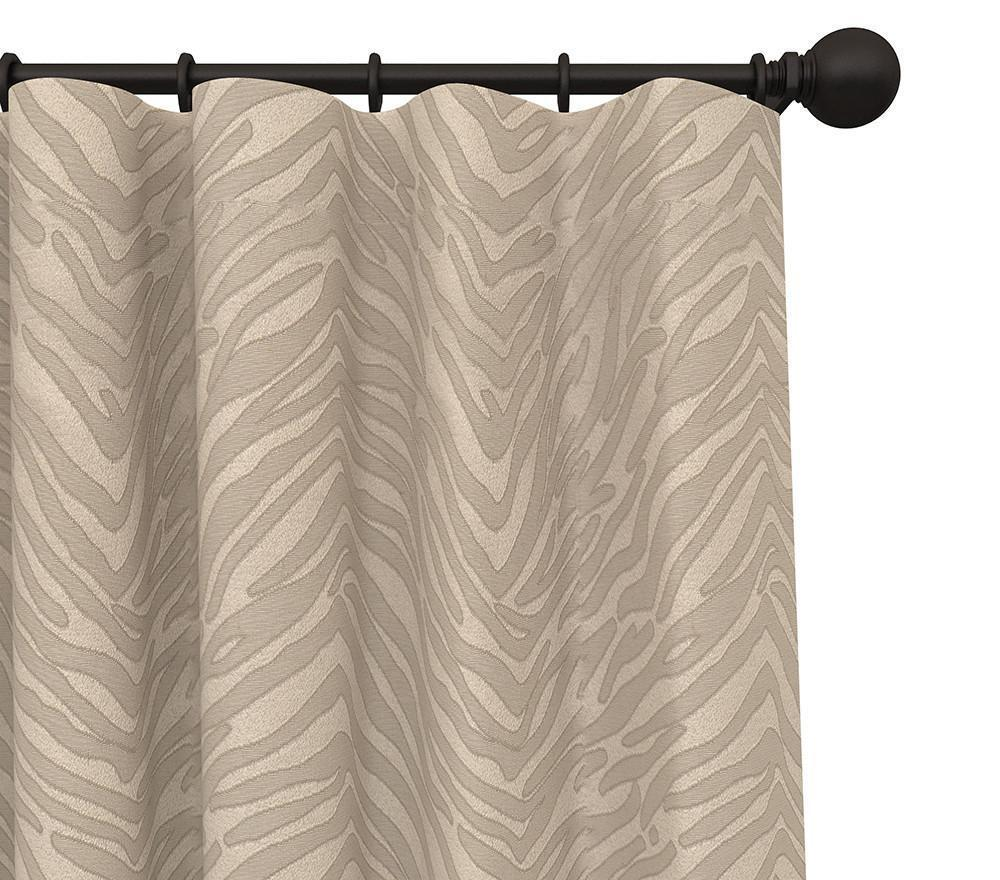 Pair Tabu Zebra Striped Woven Blended Cotton Curtain Panels with FREE Curtain Rod