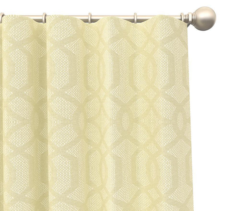 Pair Alessia Moroccan Trellis Damask Blended Cotton Curtain Panels with FREE Curtain Rod