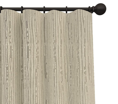 Pair Rapha Tree Bark Striped Blended Cotton Curtain Panels with FREE Curtain Rod