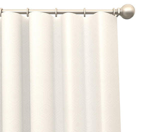 Pair Heloise Hexagonal Pattern Blended Cotton Curtain Panels with FREE Curtain Rod