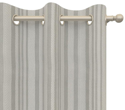 Pair Palmer Striped Woven Blended Cotton Curtain Panels with FREE Curtain Rod