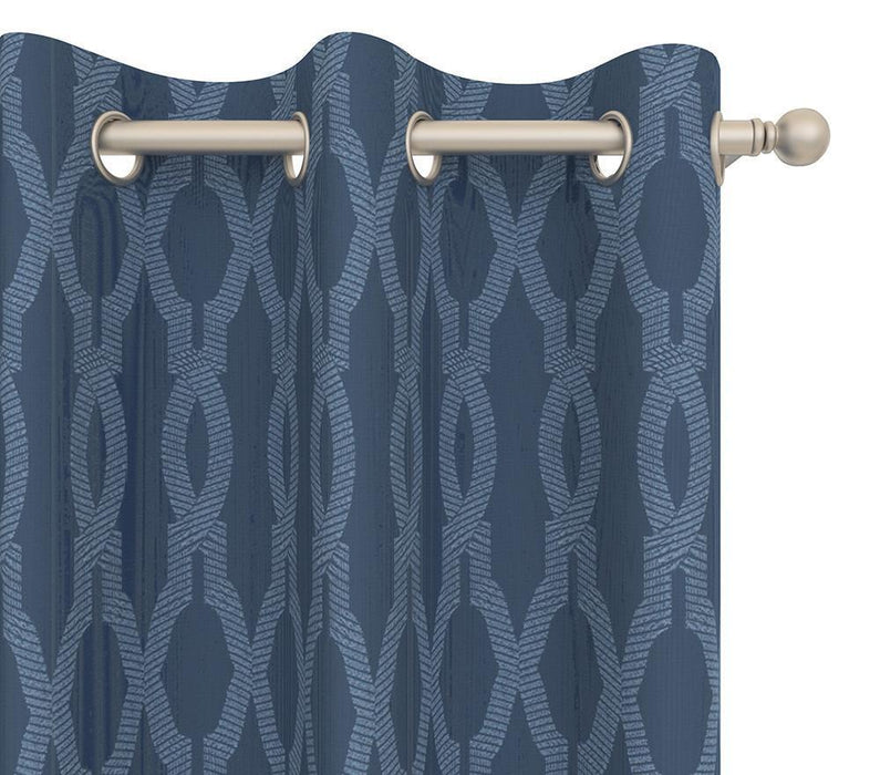 Heather Cotton Moroccan Trellis Damask Pair of Curtain Panels with FREE Curtain Rod