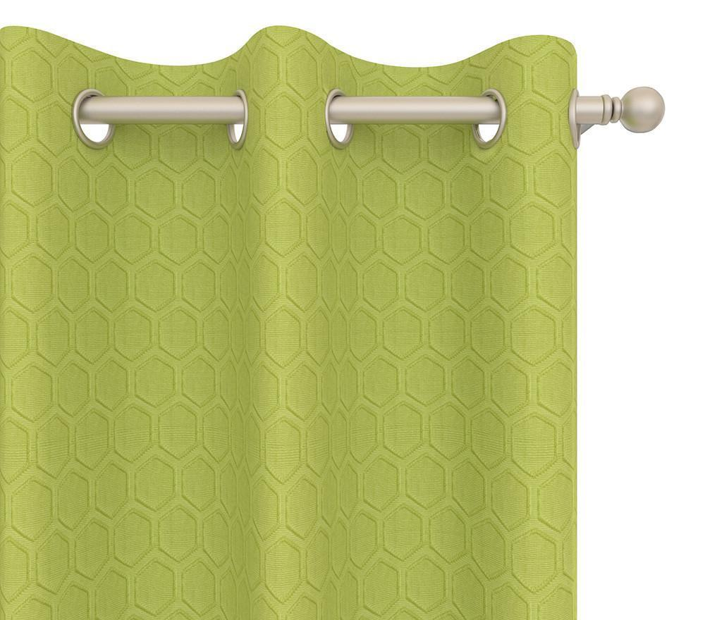 Pair Hollie Hexagonal Print Woven Blended Cotton Curtain Panels with FREE Curtain Rod