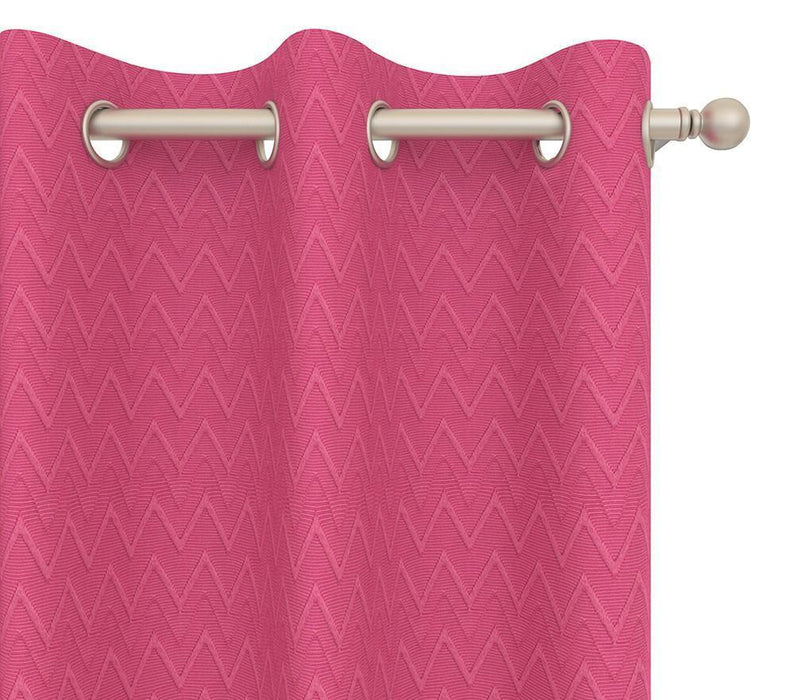 Pair Cheval Chevron Tonal Cotton Blend Curtain Panels with FREE ...