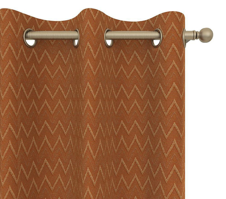 Pair Cheval Chevron Tonal Cotton Blend Curtain Panels with FREE Curtain Rod