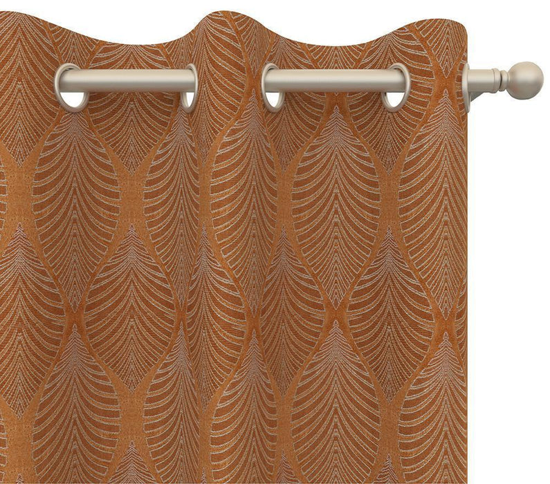 Pair Travis Natural Tropical Leaf Damask Curtain Panels with 3D Jacquard Raised Embroidery plus FREE Curtain Rod