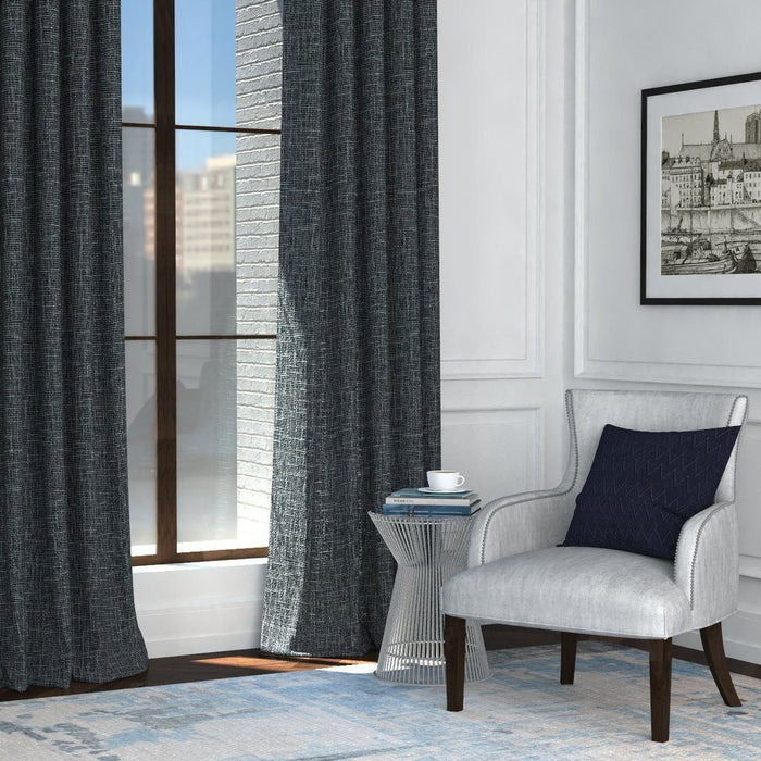 Pair Coleen Linen Look Durable Textured Curtain Panels with FREE Curtain Rod