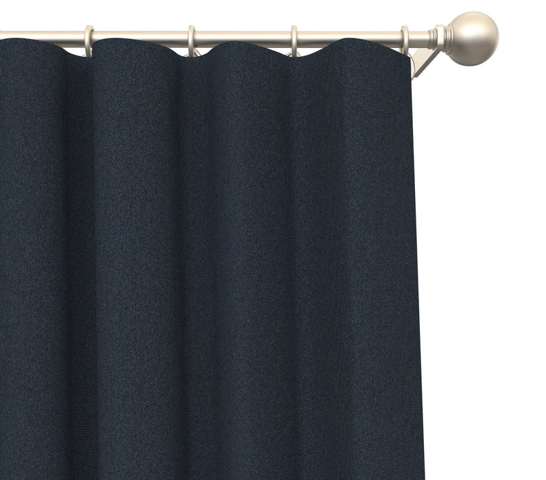 Pair of Dollan Satin Heavyweight Solid Blended Cotton Panels with FREE Curtain Rod
