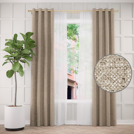Pair of Edward Faux Wool Textured Curtains and Pair of Sheers