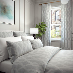 Heather Moroccan Trellis Damask Cotton Blend Duvet Cover and Shams Set