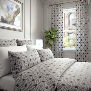 Hillary Diamond Pattern Woven Jacquard Raised Embroidery Cotton Blend Duvet Cover and Shams Set
