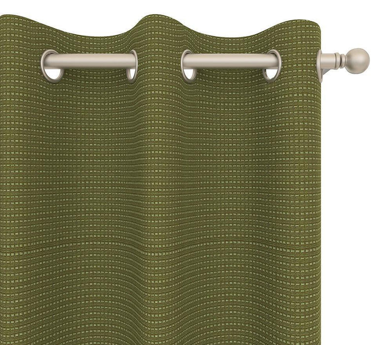 Leonard Cotton Raised Mini-Check Textured Pair of Curtain Panels with FREE Curtain Rod