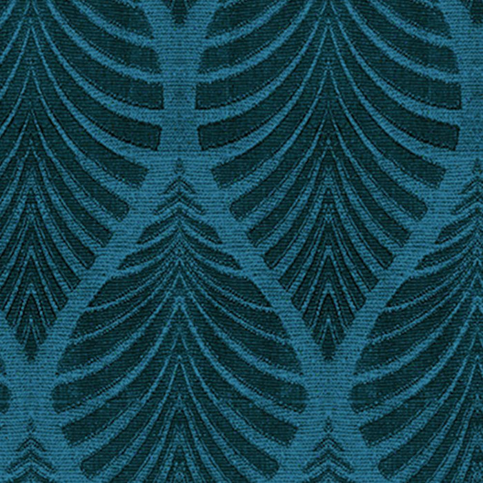 Travis Cotton Natural Tropical Leaf Damask Pair of Curtain Panels with 3D Jacquard Raised Embroidery