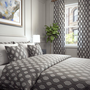 Niccola Trellis Geometric Jacquard Raised Embroidery Blended Cotton Duvet Cover and Shams Set