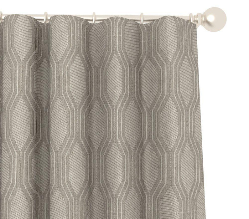 Pair Niccola Moroccan Trellis Geometric Jacquard Embroidery Blended Cotton Curtain Panels with FREE Curtain Rod