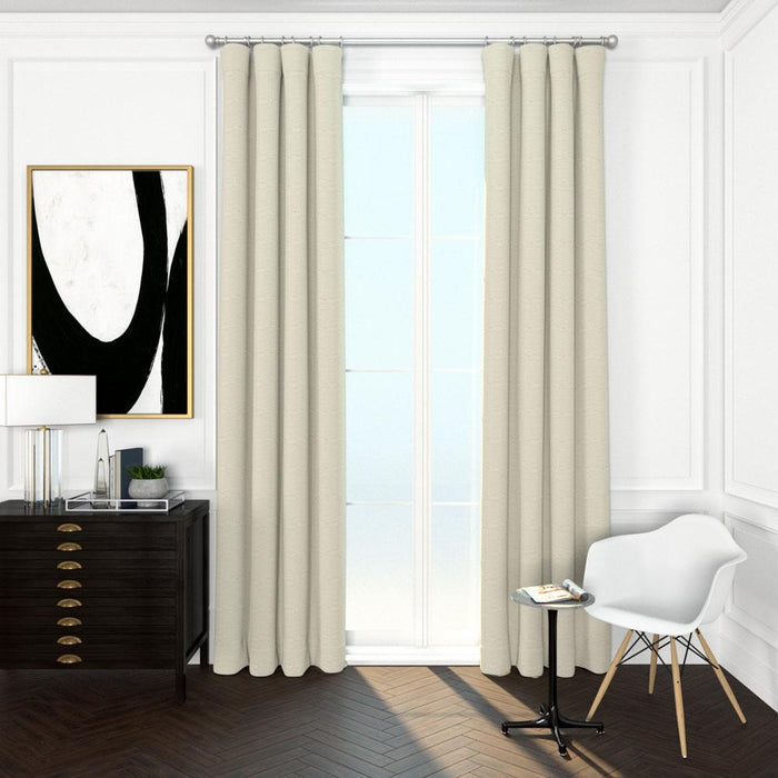 Pair Pia Textured Cotton Curtain Panels with FREE Curtain Rod