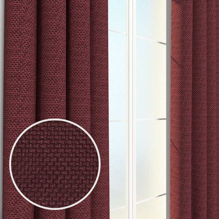Rochelle Basket Weave Textured Heavyweight Pair of Curtain Panels