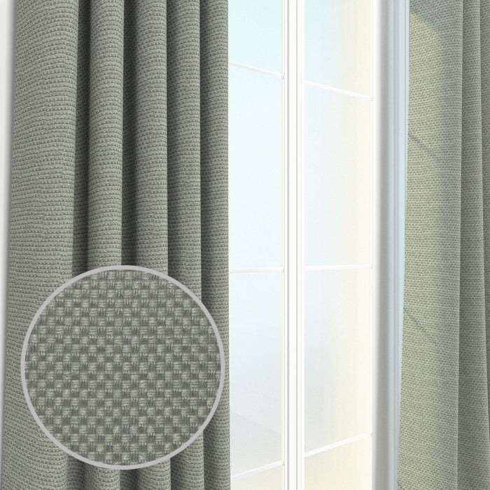 Pair Rochelle Basket Weave Textured Curtain Panels with FREE Curtain Rod