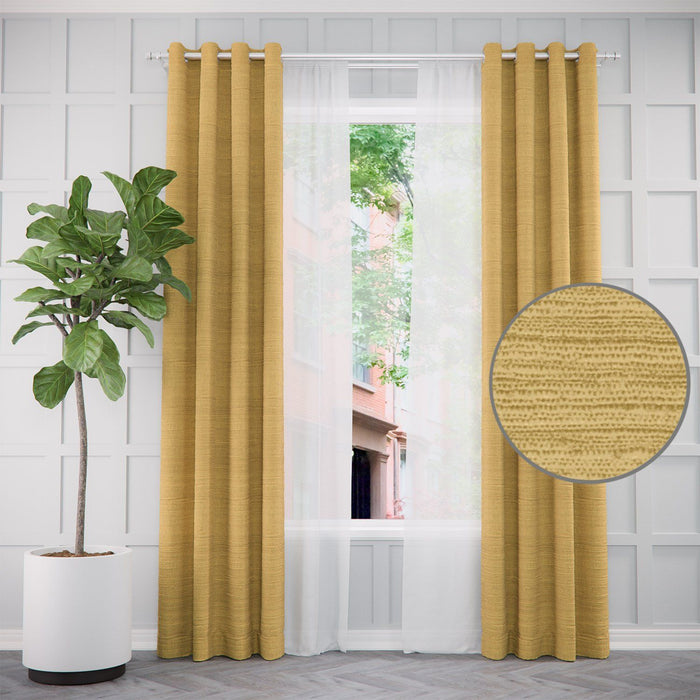 Pair of Sophie Faux Raw Silk Curtains and Pair of Sheers