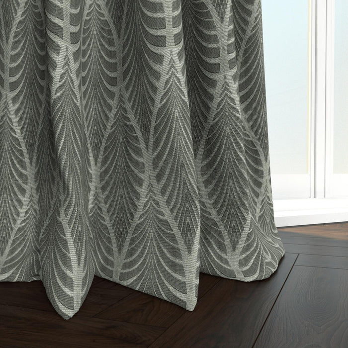 Travis Cotton Natural Tropical Leaf Damask Curtain Panel with 3D ...