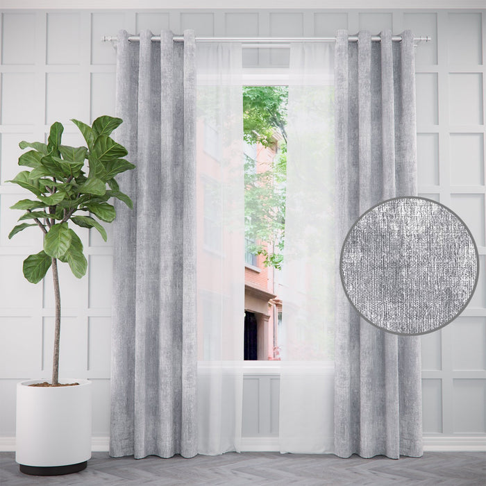 Pair of Urban Luster Abstract Curtains and Pair of Sheers