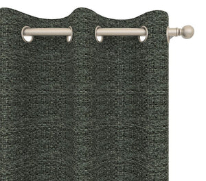 Pair Webster Woven Tweed Burlap Curtain Panels with FREE Curtain Rod