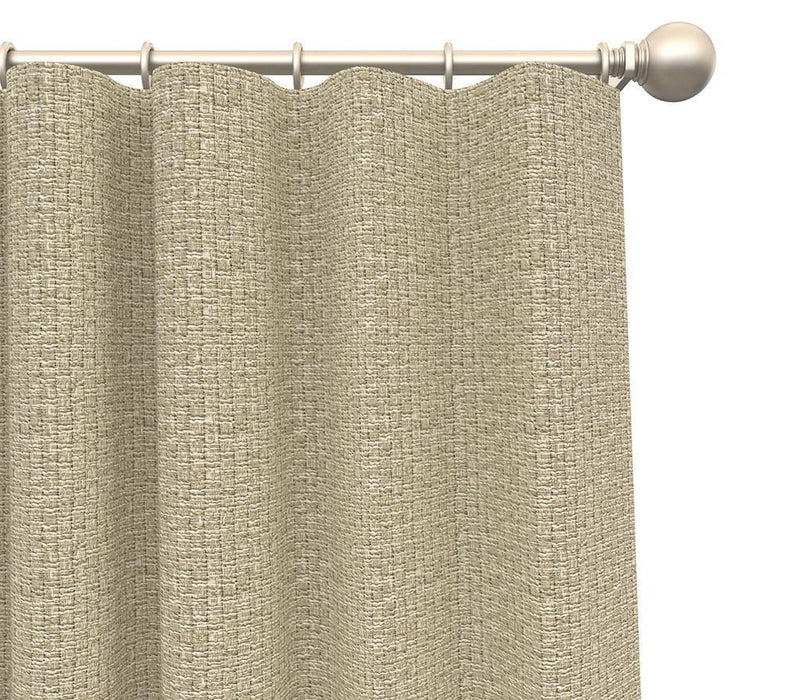 Pair Webster Woven Tweed Burlap Textured Curtain Panels with FREE Curtain Rod