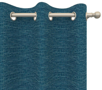 Pair Wilhelmina Woven Tweed Crosshatch Textured Curtain Panels with FREE Curtain Rod