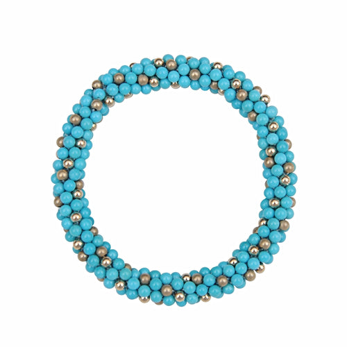 Sleeping Beauty Turquoise & 14kt Gold Rope Bracelet - Therese Custom Designs