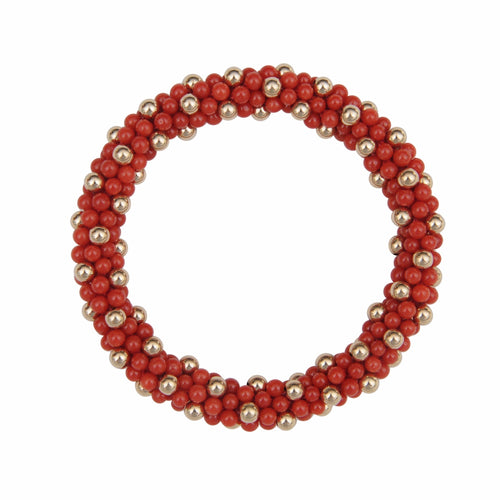 Natural Red Coral & 14kt Gold Rope Bracelet - Therese Custom Designs