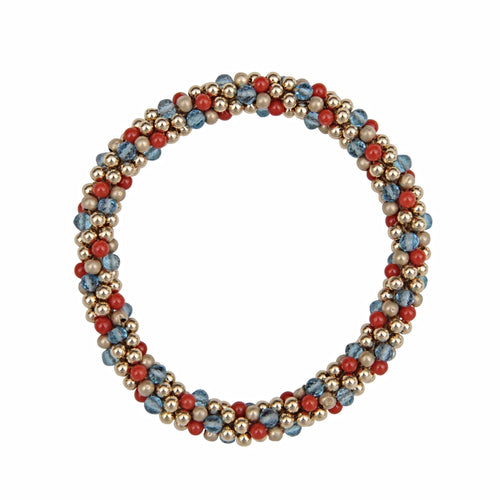 Natural Red Coral, Blue Topaz, & 14kt Gold Rope Bracelet - Therese Custom Designs