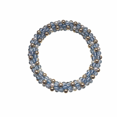 Blue Topaz, Fresh Water Pearl, & 14kt Gold Rope Bracelet - Therese Custom Designs