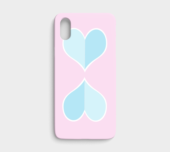 Two Big Hearts / Pink + Blue / iPhone Case / X / XS